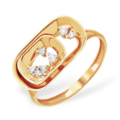 Золотое кольцо необычного дизайна с фианитами