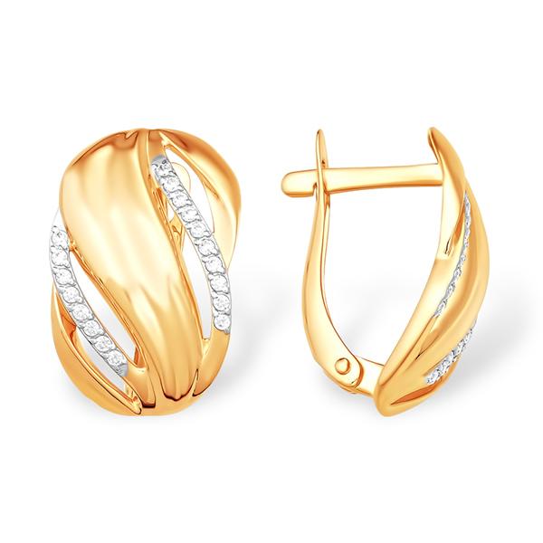 Серьги из золота с фианитовыми дорожками