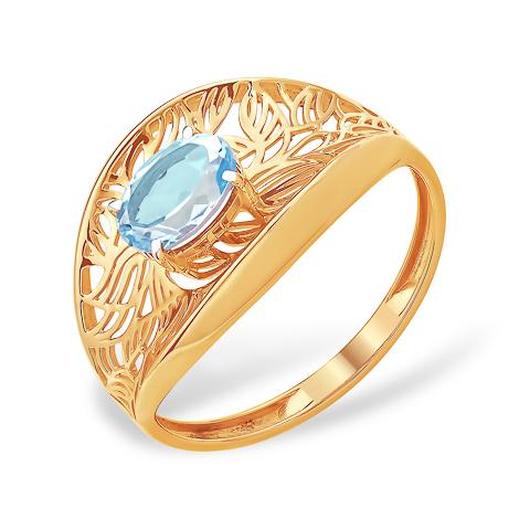 Ажурное золотое кольцо с топазом