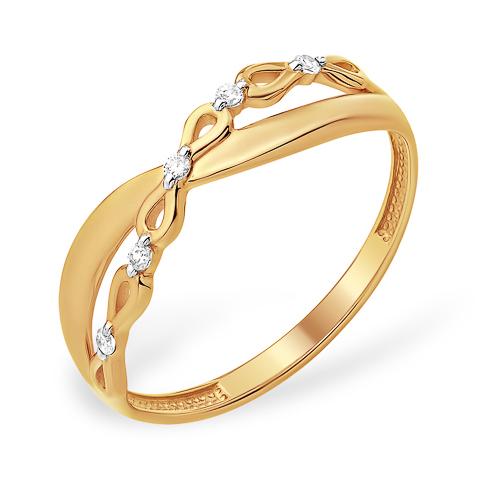 Легкое кольцо из золота с фианитами