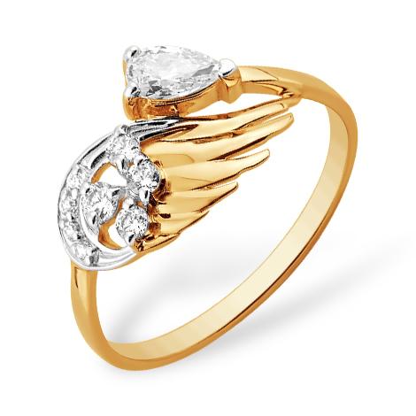 """Кольцо """"крыло"""" из золота с фианитами"""