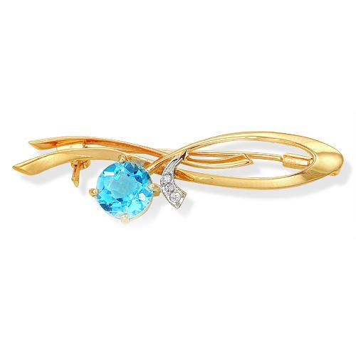 Золотая брошь с голубым топазом и фианитами