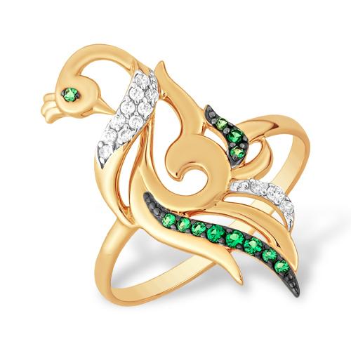 """Кольцо """"птица"""" из золота с фианитами"""