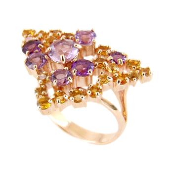 Кольцо из золота с аметистами и цитринами