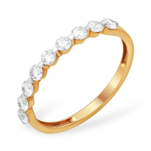 Тонкое золотое кольцо с дорожками из фианитов
