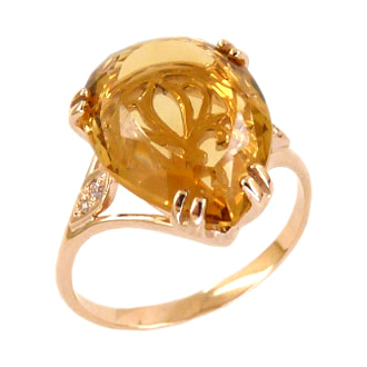 Кольцо из золота с крупным цитрином и фианитами