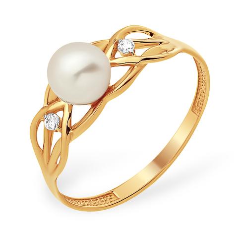Кольцо с белым жемчугом и двумя фианитами