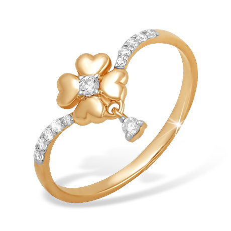 """Кольцо """"цветок"""" из золота с фианитами"""