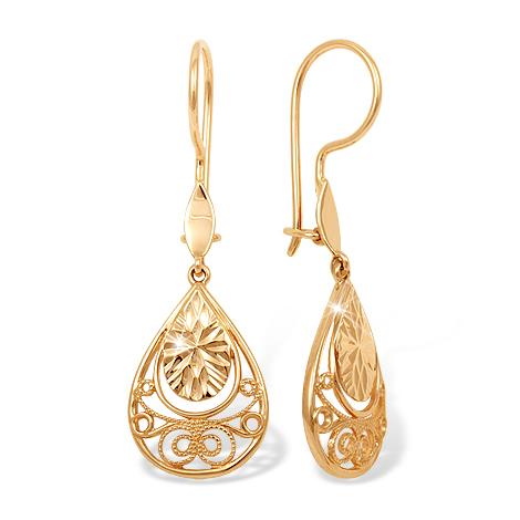 Золотые серьги с филигранью и алмазной гранью