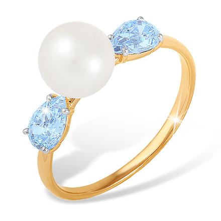 Кольцо с жемчугом и голубыми фианитами