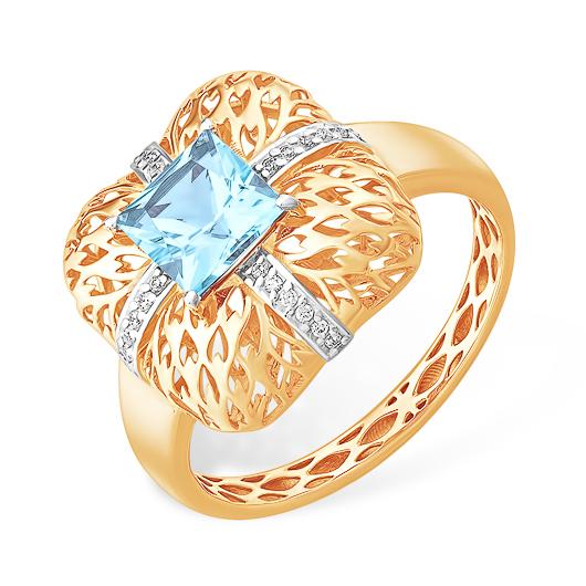 Крупное, квадратной формы, ажурное кольцо с топазом