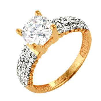 Кольцо из золота с большим фианитом