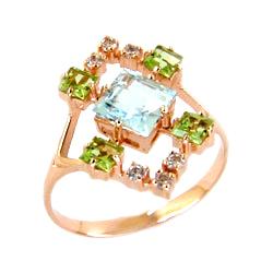 Кольцо из золота с топазом, хризолитами и фианитами