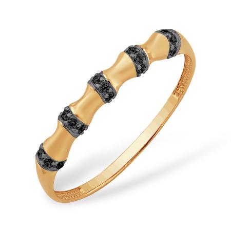 """Золотое кольцо """"бамбук"""" с черными фианитами"""
