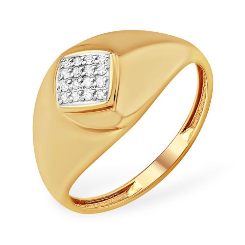 Широкое кольцо из золота с рисунком в виде ромба