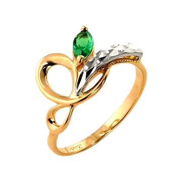 Кольцо из золота с зеленым фианитом и алмазной гранью