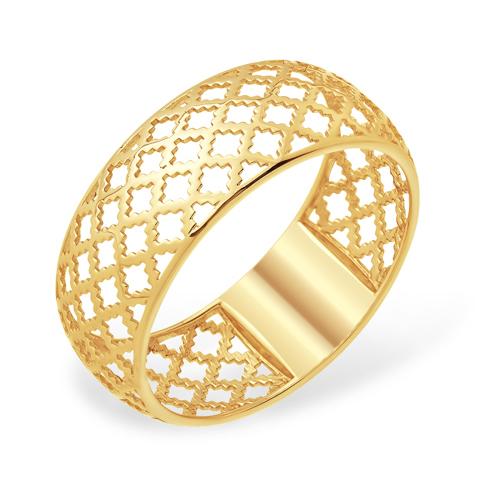 Широкое золотое кольцо с узором
