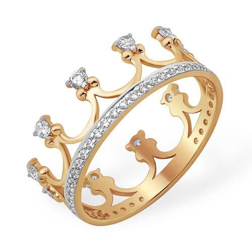 """Кольцо """"корона"""" с белыми фианитами"""