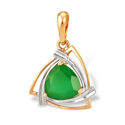 Подвеска из комбинированного золота с зеленым агатом