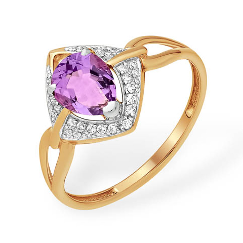 Оригинальное золотое кольцо с аметистом и фианитами