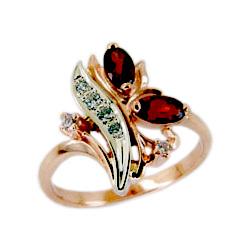 Кольцо из золота с гранатами и фианитами