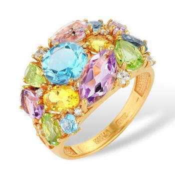 Кольцо из золота с топазами, аметистами, хризолитами, цитринами и фианитами
