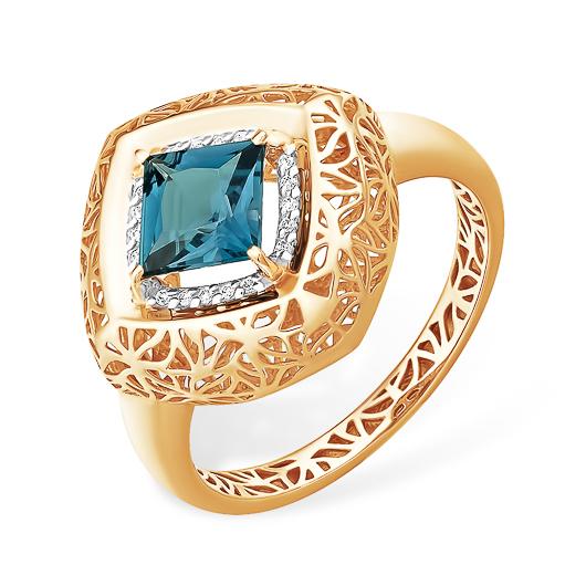 Крупное ажурное кольцо в виде ромба с лондон топазом