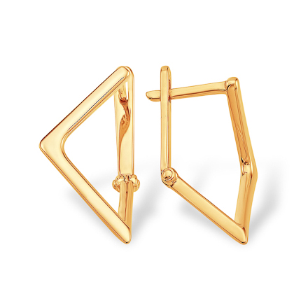 Золотые серьги треугольной формы