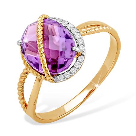 Оригинальное кольцо из золота с крупным аметистом