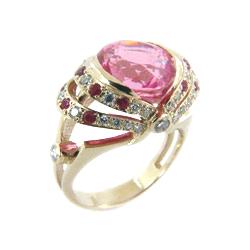 Кольцо из золота с розовой шпинелью, бриллиантами и рубинами