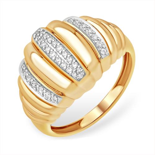 Объёмное золоте кольцо с фианитами