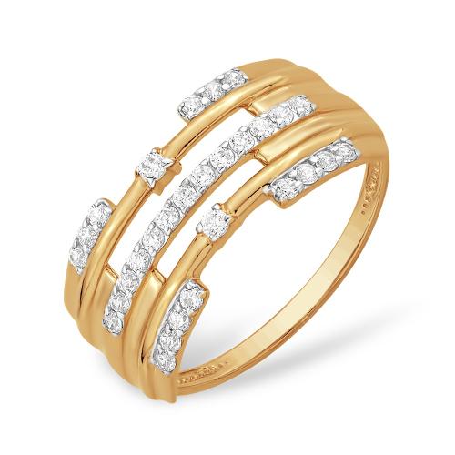 Кольцо из красного золота с фианитами