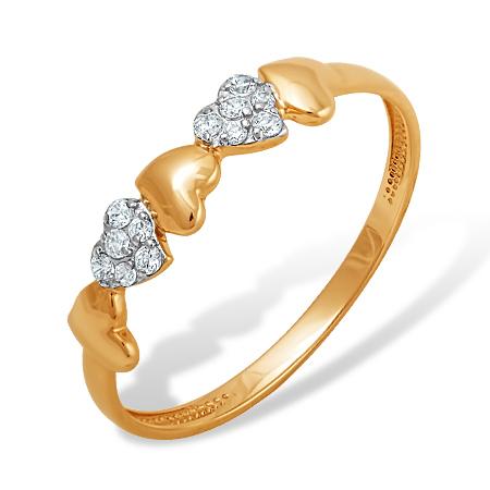 """Золотое кольцо """"сердечки"""" с фианитами"""