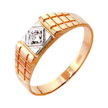 Мужское кольцо из золота с фианитом
