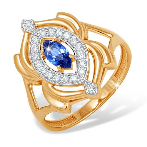 Объемное кольцо с синим и белыми фианитами из золота