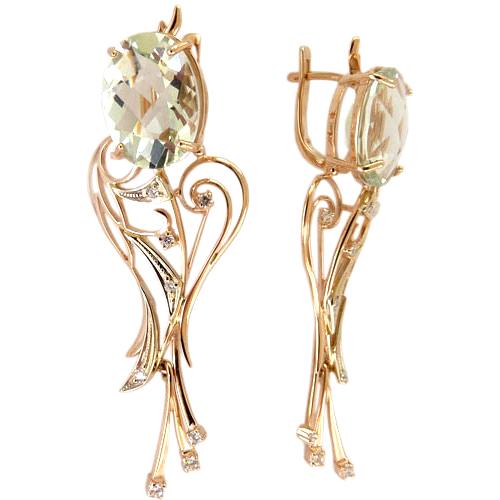 Серьги из золота с празиолитом и фианитами