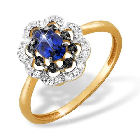 Кольцо из золота с гидротермальным сапфиром и фианитами