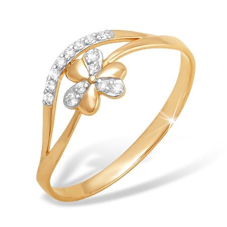 """Кольцо """"цветочек"""" из золота с фианитами"""