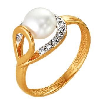 Кольцо из красного золота с жемчугом и фианитами