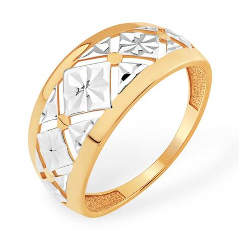 """Золотое кольцо """"геометрические ромбы"""" с алмазной гранью"""