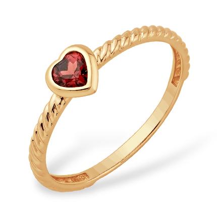 Тонкое кольцо с гранатовым сердцем