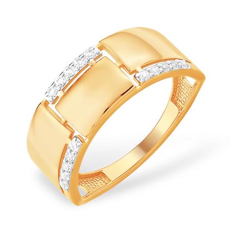 Стильное широкое золото кольцо с фианитами
