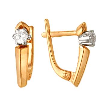 Классические серьги из золота с фианитами