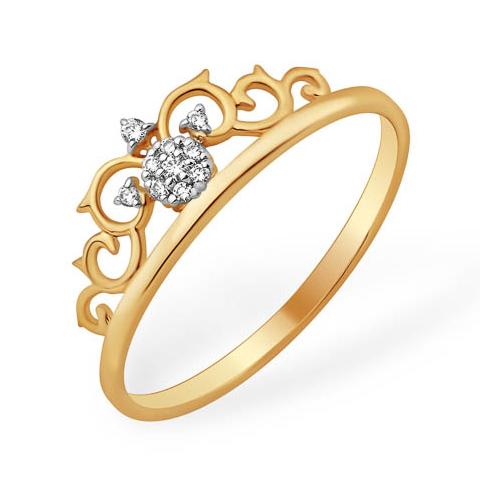 Миниатюрное кольцо из золота в виде короны