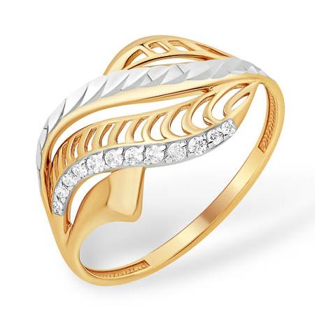 Объемное кольцо с алмазной гранью и фианитами