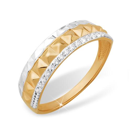 a55a75086fec Купить кольцо из золота с фианитами и алмазной гранью, модель 8100227573