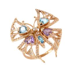 """Кольцо из золота """"бабочка"""" с аметистами, топазами и фианитами"""