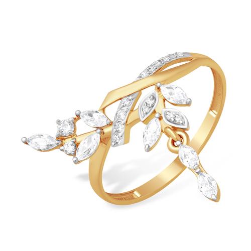 Золотое кольцо с висячей веточкой