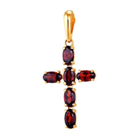 Крест из красного золота с гранатами