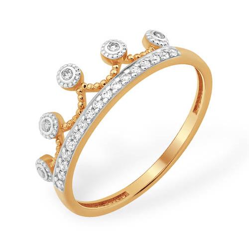 """Кольцо """"корона"""" с бесцветными фианитами из золота"""